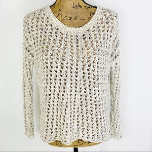 American Eagle Open Weave Marbled Sweater Oatmeal